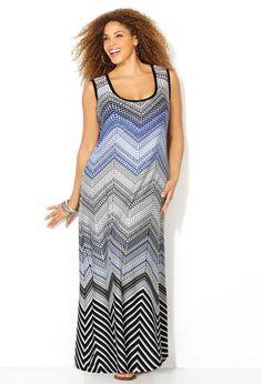 Mixed Chevron Maxi Dress-Plus Size Dress-Avenue Flattering Plus Size Dresses, Plus Size Maxi Dresses, Plus Size Outfits, Dresses For Work, Midi Dress Work, Avenue Dresses, Cool Outfits, Fashion Outfits, Occasion Dresses