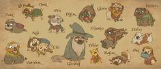 The Hobbit - Company of Pugs by sunami56