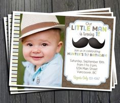 Little Man Mustache Birthday Invitation - FREE Thank You Card included. $15.00, via Etsy.