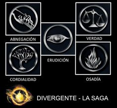 ¿Ya conocen las diferentes facciones de Divergente, La Saga? Aquí les dejamos una imagen