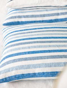 Designers Guild -   Collection; Essentials Brera Rigato in cobalt.  100% linen.  Also available in Largo (large stripe) and Fino (fine stripe).