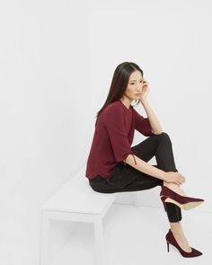 Bow detailed top - Oxblood | Tops & T-shirts | Ted Baker UK