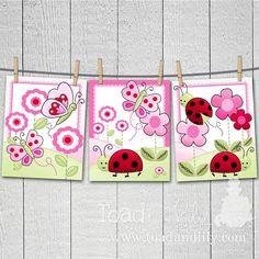 Set de 3 rosa mariquita niñas dormitorio bebé vivero 8 x 10 grabados