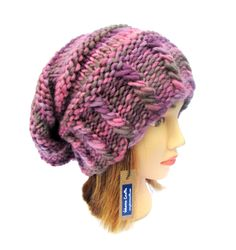 Slouchy beanie hat pink and purple slouch hats for women - funky knit hat - fun multi-color hat - pretty hat for women - warm winter beanie (46.00 USD) by Johannahats