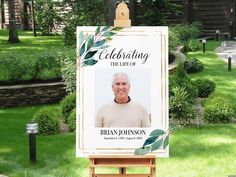 Funeral Welcome Sign Celebration of Life Sign Poster Greenery Gold Frame Memorial Service Poster Board Funeral Decor In loving memory 18 x24