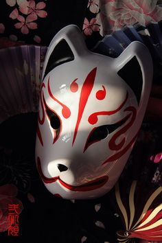 Hand-Painted Full Face Japanese Fox Mask Demon Kitsune Cosplay Masquerade Collection Japanese Party Carnival Halloween - free shipping worldwide