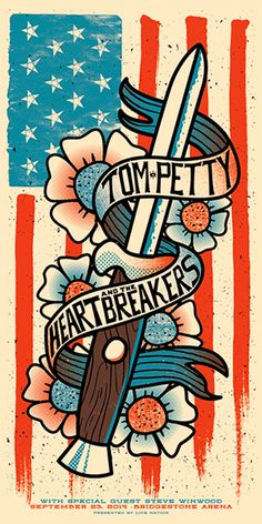Tom Petty And The Heartbreakers Poster - Bridgestone Arena, Nashville - Andrew Vastagh Tour Posters, Band Posters, Music Posters, Tom Petty, Norman Rockwell, Monet, Shows, Concert Posters, Music Love