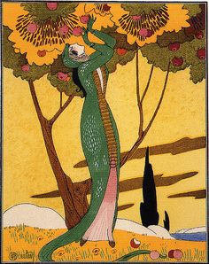 George Barbier (1882-1932) - French Art Deco Fashion Illustrator - -Picking an Apple