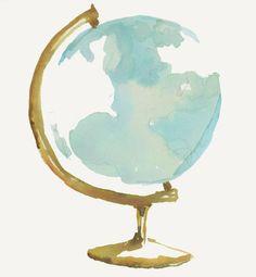 Watercolor globe