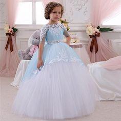 2016 милый ребенок бальное платье синий и белый театрализованного платья половина рукава Vestidos De Primera первое причастие детские платья