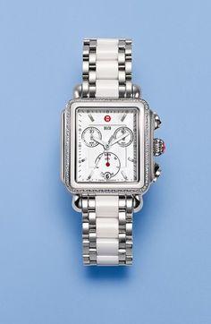 MICHELE 'Deco Diamond' Ceramic & Steel Watch Case, 33mm x 35mm | Nordstrom