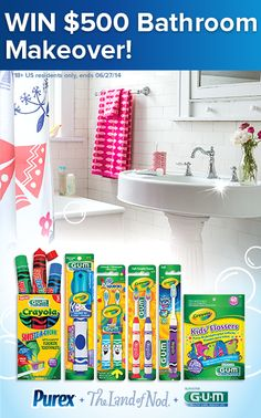 *THIS SWEEPSTAKES HAS ENDED* Repin if your bathroom could use a makeover! #WIN a $500 @The Land of Nod gift card and 1-yr supply of GUM Crayola Kids oral care products from Purex.