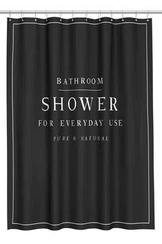 Zasłona prysznicowa z napisem - Czarny - HOME   H&M PL