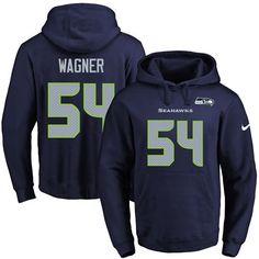 Nike Seahawks #54 Bobby Wagner Navy Blue Name & Number Pullover NFL Hoodie