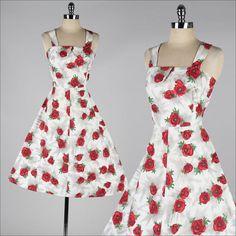 vintage 1950s dress . rose print cotton sun dress . 4062
