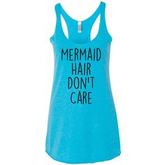 Foveam Mermaid Hair Don't Care Tank Top Super Soft Triblend and Chic... ($17) ❤ liked on Polyvore featuring tops, red, tanks, women's clothing, racer back tank, red racerback tank, red tank top, blue singlet and blue tank top