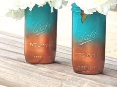 Turquoise mason jar,ombre painted, teal and coper mason jars, mason jar vase, wedding mason jars, jade mason jar, home decor jar by ShopAroundTheCorner3 on Etsy https://www.etsy.com/listing/190148702/turquoise-mason-jarombre-painted-teal