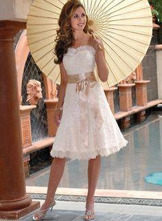 A-Line/Princess Strapless knee-Length Satin wedding dress for brides Style(WDL0101)