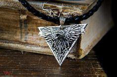 Unique Black Raven necklace 60cm leather lace by Mastenarium