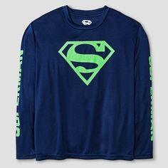 Boys  Long Sleeve Superman Mesh Print T-Shirt - Navy (Blue) Cool 5cd72ea656d