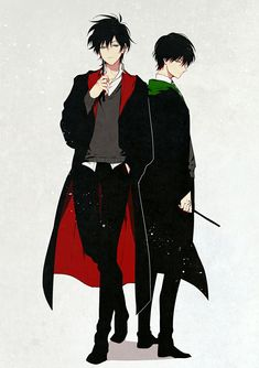 The Black Brothers》Sirius Black of Gryffindor and Regulus Black of Slytherin Fanart Harry Potter, Harry Potter Artwork, Mundo Harry Potter, Harry Potter Marauders, Harry Potter Drawings, Harry Potter Ships, Harry Potter Characters, Harry Potter Universal, Harry Potter Fandom