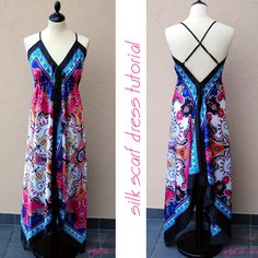 Silk scarf dress tutorial - looks like something my sister would love.