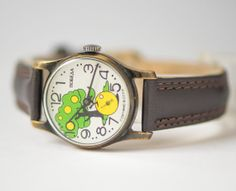 Colourful watch Pobeda unisex apple tree wrist watch yellow green face watch Russian round USSR