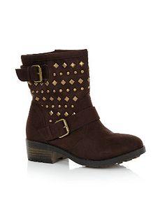 http://www.newlook.com/shop/shoe-gallery/boots/-truffle-brown-stud-double-buckle-biker-boots-_279506724