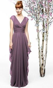 long lavender bridesmaid dress with short sleeves