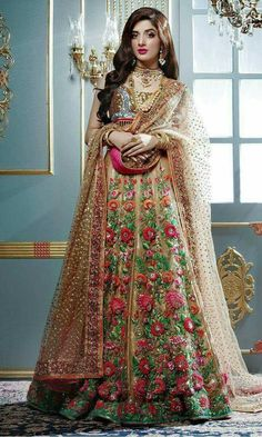 Multicolor colour Wedding Lehenga Choli Designer Bollywood Lehenga with Matching Color unstiched blouse. It contained the Embroidered work with inner. The Lehenga can be customized up to bust size 44 , Lehenga Length 48 , Waist size 38 , and Dupatta size Anarkali, Lehenga Sari, Bollywood Lehenga, Sabyasachi, Pakistani Wedding Outfits, Pakistani Bridal Dresses, Bridal Lehenga, Indian Dresses, Pakistani Mehndi Dress