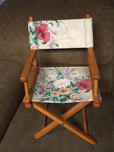Childu0027s Folding Canvas Directoru0027s Chair Floral Pattern Gold Metal Inc Wood  Frame #GoldmetalInc