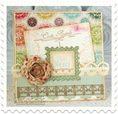 Postage Stamp Card JustRite September Release-Greetings From Paris From Sharon Harnist via www.PaperFections.com