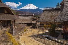 Iyashi no Sato is an open air museum that recreates a traditional Japanese village. From here it's possible to imagine what Fuji-san looked like in the Edo-era.
