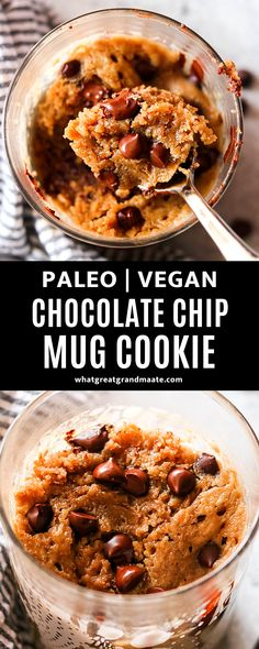 Moist and decadent gluten free chocolate chip cookie in a mug that's ready in under 2 minutes in the microwave. It's so easy when you have a sweet tooth, with simple ingredients! #mugcake #mugcookie #vegandessert #paleodessert #eggfreecookie #chocolatechipcookie #microwavedessert