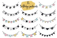 Birthday BOY - is a big pack of birthday elements, cute cartoon animals, lettering, 2 versions of ABC, seamless patterns and nursery birthday posters. Bullet Journal Banner, Bullet Journal Writing, Bullet Journal Ideas Pages, Bullet Journal Inspiration, Mini Drawings, Doodle Drawings, Easy Drawings, Doodle Art, Birthday Doodle