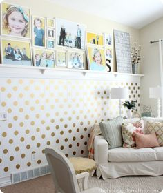 Love this DIY Gold Polka Dot Accent Wall @The House of Smiths