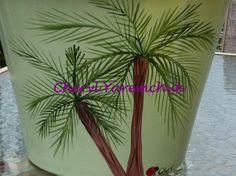 Palmtrees - handpainted flower pot