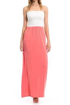 Two Tone Pocket Detail Tube Maxi Dress, Coral