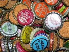 100 VINTAGE Soda Bottle Cap Assortment great crafty by TorBearNC