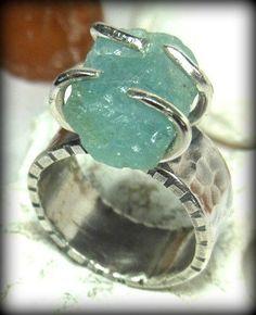 My next present for myself--Large Rough Aquamarine gemstone  ring   Aquamarine by Marajoyce, $134.00