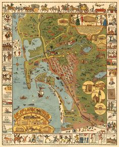 $28 San Diego map Illustrated map Old map of San by AncientShades