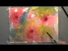 simple technique, great effect  -  watercolor flowers (plastic wrap)