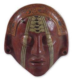 Hand Painted Ceramic Wall Mask - Maya Nobleman | NOVICA