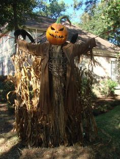 A closer view of the  pumpkin scarecrow