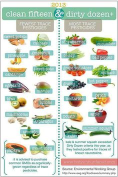 Organic vs Non-organic Clean 15 and Dirty Dozen. Eat clean/pesticide-free on a budget! Zulualoeferox.com
