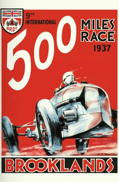 "Brooklands (1937) ""Brooklands was the home of speed. Brutal vehicles, speedy motorcycles and the most amazing aircraft. The stylish posters reflect this excitement, and the draft sketches were often made onsite whilst watching the mad-crazy racing."" KB"