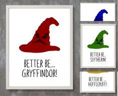 Sorting Hat, Harry Potter Decor, Gryffindor, Slytherin, Ravenclaw, Hufflepuff, Harry Potter House, Harry Potter Print, Harry Potter Wall Art by DinkyDotShop on Etsy