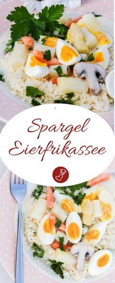 Spargel Rezepte, Eier Rezepte: Rezept für Spargel-Eierfrikassee von herzelieb. Leckeres Frühlingsessen, dass schön leicht ist Ganz einfach und schnell zubereitet. #spargel #eier #frühling