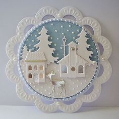Beautiful pearlescent winter scene die cut card topper ~ Christmas