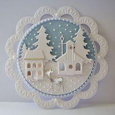 Beautiful pearlescent winter scene die cut card topper ~ Christmas